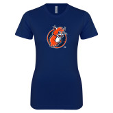 Next Level Ladies SoftStyle Junior Fitted Navy Tee-Youth Mark