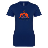 Next Level Ladies SoftStyle Junior Fitted Navy Tee-Wrestling Design