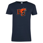 Ladies Navy T Shirt-BU Wildcat