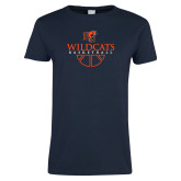 Ladies Navy T Shirt-Basketball Design