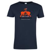 Ladies Navy T Shirt-Wrestling Design