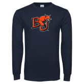 Navy Long Sleeve T Shirt-BU Wildcat