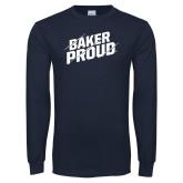 Navy Long Sleeve T Shirt-Baker Proud