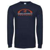 Navy Long Sleeve T Shirt-Football Design