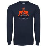 Navy Long Sleeve T Shirt-Wrestling Design