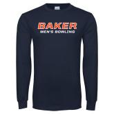 Navy Long Sleeve T Shirt-Mens Bowling
