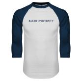 White/Navy Raglan Baseball T Shirt-Baker University