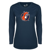 Ladies Syntrel Performance Navy Longsleeve Shirt-Youth Mark