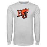 White Long Sleeve T Shirt-BU Wildcat