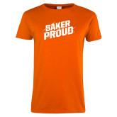 Ladies Orange T Shirt-Baker Proud