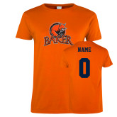 Ladies Orange T Shirt-Primary Mark, Personalized Name and #