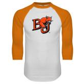 White/Orange Raglan Baseball T Shirt-BU Wildcat
