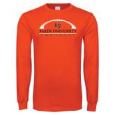 Orange Long Sleeve T Shirt-Football Design