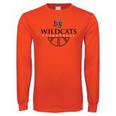 Orange Long Sleeve T Shirt-Basketball Design