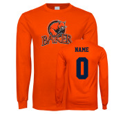 Orange Long Sleeve T Shirt-Primary Mark, Personalized Name and #