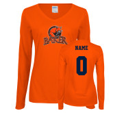 Ladies Orange Long Sleeve V Neck Tee-Primary Mark, Personalized Name and #