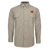 Khaki Long Sleeve Performance Fishing Shirt-BU Wildcat