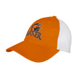 Orange/White Mesh Back Unstructured Low Profile Hat-Primary Mark