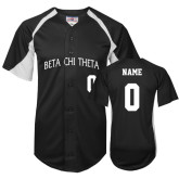 Replica Black Adult Baseball Jersey-Arched Beta Chi Theta Personalized