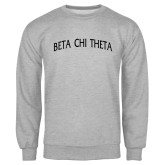 Grey Fleece Crew-Beta Chi Theta Arched