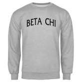 Grey Fleece Crew-Beta Chi Arched