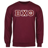 Maroon Fleece Crew-Greek Letters, Tackle Twill