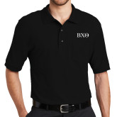 Black Easycare Pique Polo w/ Pocket-Greek Letters