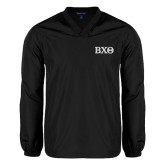 V Neck Black Raglan Windshirt-Greek Letters