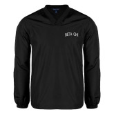V Neck Black Raglan Windshirt-Beta Chi Arched