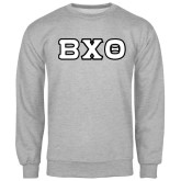 Grey Fleece Crew-Greek Letters, Tackle Twill