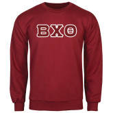 Cardinal Fleece Crew-Greek Letters, Tackle Twill