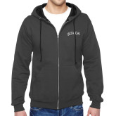 Charcoal Fleece Full Zip Hoodie-Beta Chi Arched