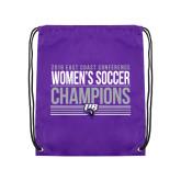 Purple Drawstring Backpack-2018 ECC Womens Soccer Champions