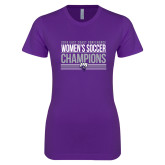 Next Level Ladies SoftStyle Junior Fitted Purple Tee-2018 ECC Womens Soccer Champions