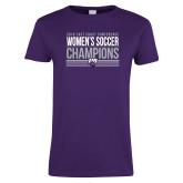 Ladies Purple T Shirt-2018 ECC Womens Soccer Champions