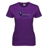 Ladies Purple T Shirt-Purple Knights Stacked w/ Knight Head