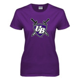 Ladies Purple T Shirt-UB Shield w/ Swords