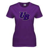 Ladies Purple T Shirt-Interlocking UB