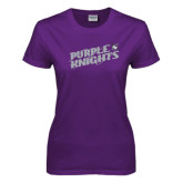 Ladies Purple T Shirt-Purple Knights Slanted