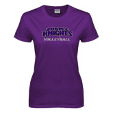 Ladies Purple T Shirt-Volleyball