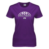 Ladies Purple T Shirt-Basketball Half Ball Design