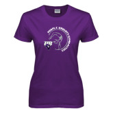 Ladies Purple T Shirt-Gymnastics Circle Design