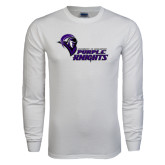 White Long Sleeve T Shirt-Purple Knights Stacked w/ Knight Head