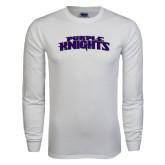 White Long Sleeve T Shirt-Purple Knights