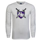 White Long Sleeve T Shirt-UB Shield w/ Swords
