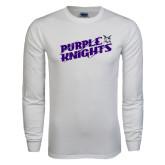 White Long Sleeve T Shirt-Purple Knights Slanted