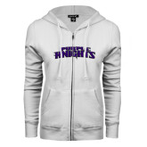 ENZA Ladies White Fleece Full Zip Hoodie-Purple Knights