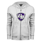 ENZA Ladies White Fleece Full Zip Hoodie-UB Shield