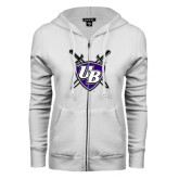 ENZA Ladies White Fleece Full Zip Hoodie-UB Shield w/ Swords