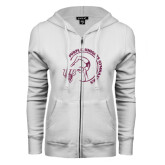 ENZA Ladies White Fleece Full Zip Hoodie-Gymnastics Circle Design Glitter